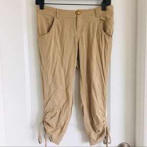 2b bebe women's tan capri pants size 2